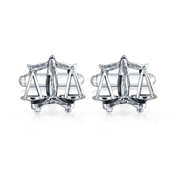 Attorney Judge Lawyer Scales of Justice Libra Cufflinks 925 Silver