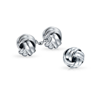 Knot Weave Twist French Style Chain Cufflinks 925 Sterling Silver