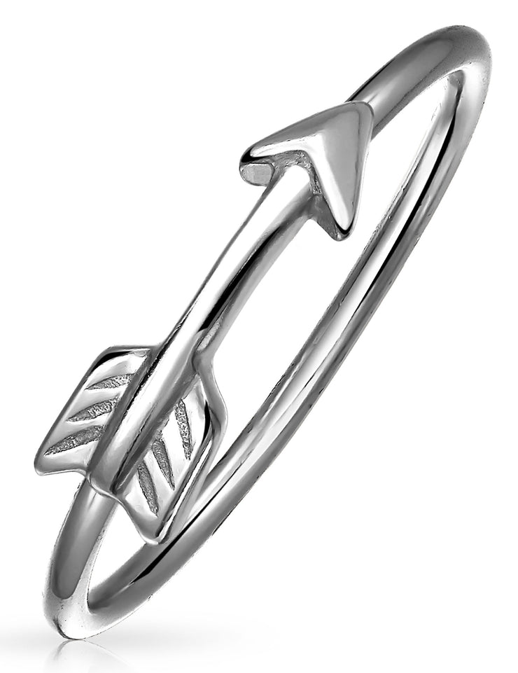925 Sterling Silver Midi Knuckle Thin 1MM Band Cupids Love Arrow Ring