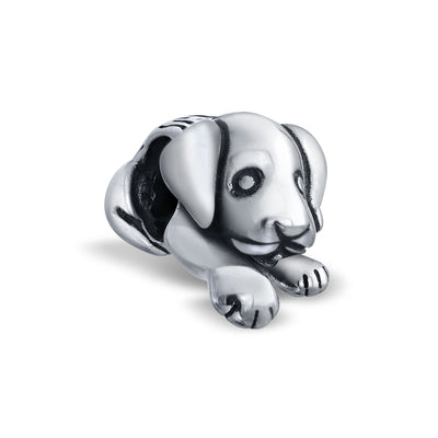 Sleepy Puppy Dog Pet Animal Lover Bff Puppy Dog Charm Bead 925 Silver