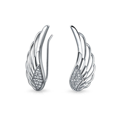 Angel Wing Feather Ear Climbers Earrings CZ Crawler Sterling Silver