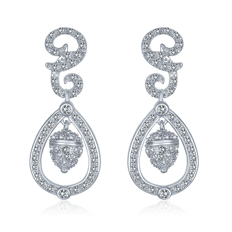 Wedding Acorn Bridal Prom Pave CZ Dangle Earrings Silver Plated Brass
