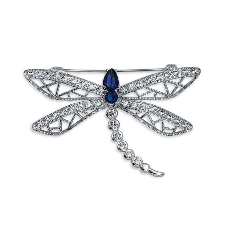 Garden Butterfly Dragonfly Brooch Pin CZ Blue Simulated Sapphire