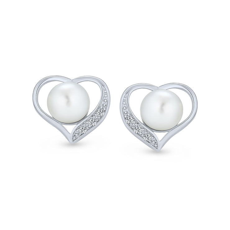 Heart Pave CZ White Freshwater Pearl Stud Earrings Sterling Silver