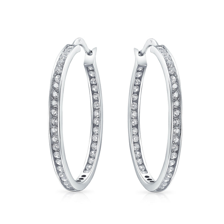 Solitaire Channel Set In Side Out CZ Hoop Earrings Sterling Silver