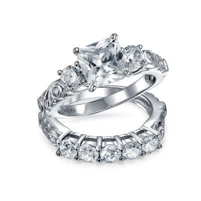 Sterling Silver 2CT Princess Wave AAA CZ Engagement Wedding Ring Set