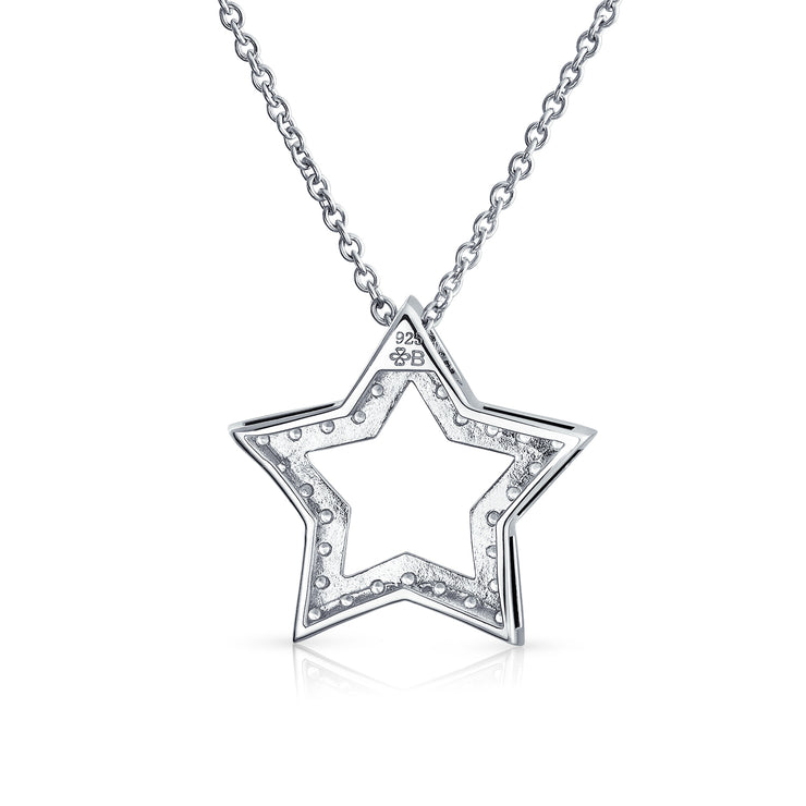 Patriotic Star American Rock Star CZ Pendant Necklace Sterling Silver
