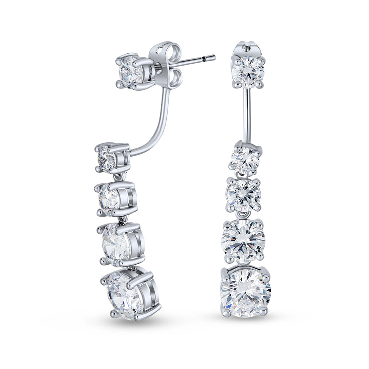 Graduated CZ Drop Back Front Stud Jacket Long Earrings Silver Plated
