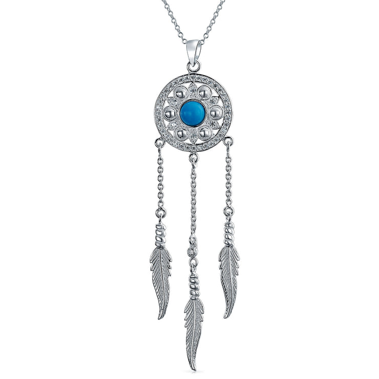 Dream Catcher Boho Blue Feathers Pendant Necklace 925 Sterling Silver