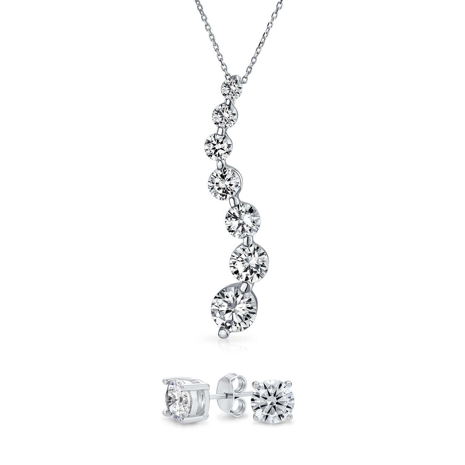 Solid 925 Sterling Silver Red and Clear CZ Cubic Zirconia Pendant Charm