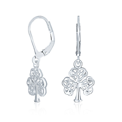 Small Heart Celtic Shamrock Clover Earrings Drop .925 Sterling Silver