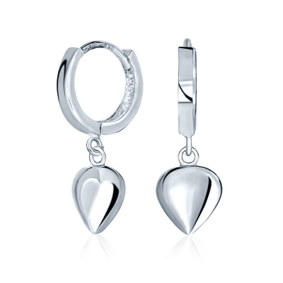 Romantic Sterling Silver Puff Heart Shaped Charm Huggie Hoop Earrings