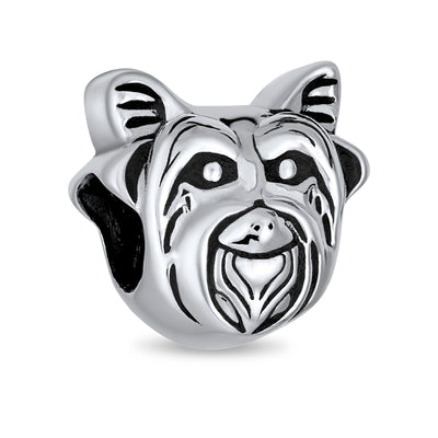 Yorkie Dog Face Dog Puppy Pet Lover Bead Charm 925 Sterling Silver