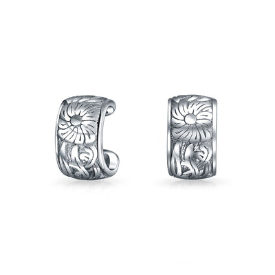 Flower Leave Cartilage Ear Cuffs Helix Earrings Ear Sterling Silver