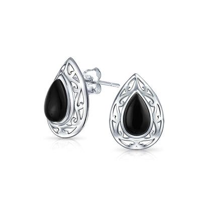 Black Onyx Teardrop Pear Shape Filigree Stud Earrings Sterling Silver