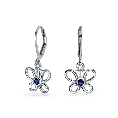 Blue CZ Dangle Leverback Butterfly Earrings 925 Sterling Silver