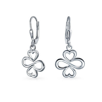 Love Luck Unity Heart Clover Sterling Silver Dangle Threader Earrings