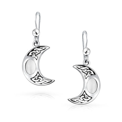 White Crescent Moon Moonstone Celtic Knot Oval Dangle Earrings Silver