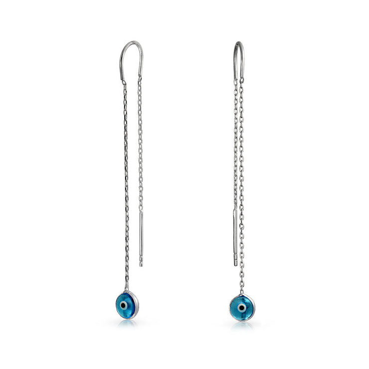 Blue Evil Eye Murano Glass Chain Threader Earrings Sterling Silver