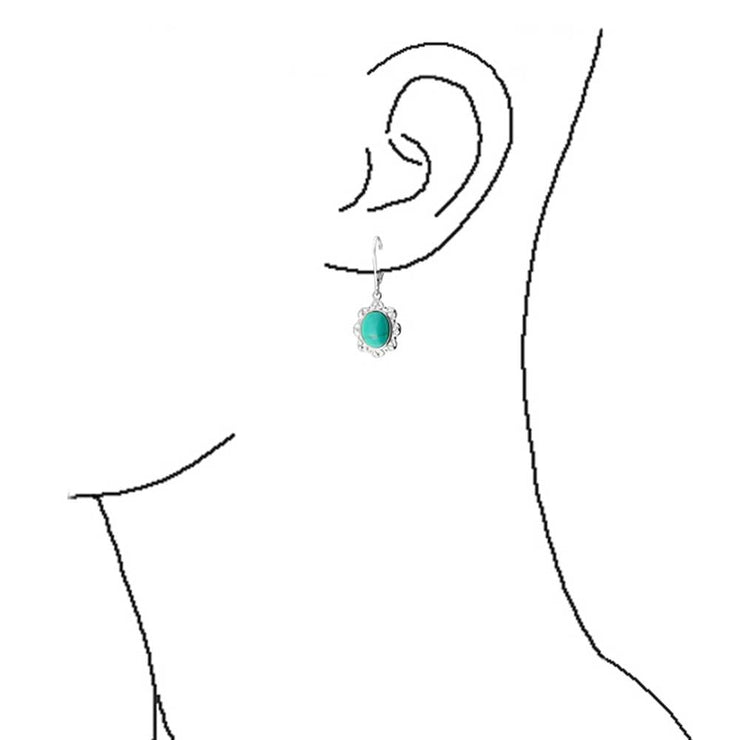 Compressed Turquoise Filigree Oval Drop Earrings 925 Sterling Silver
