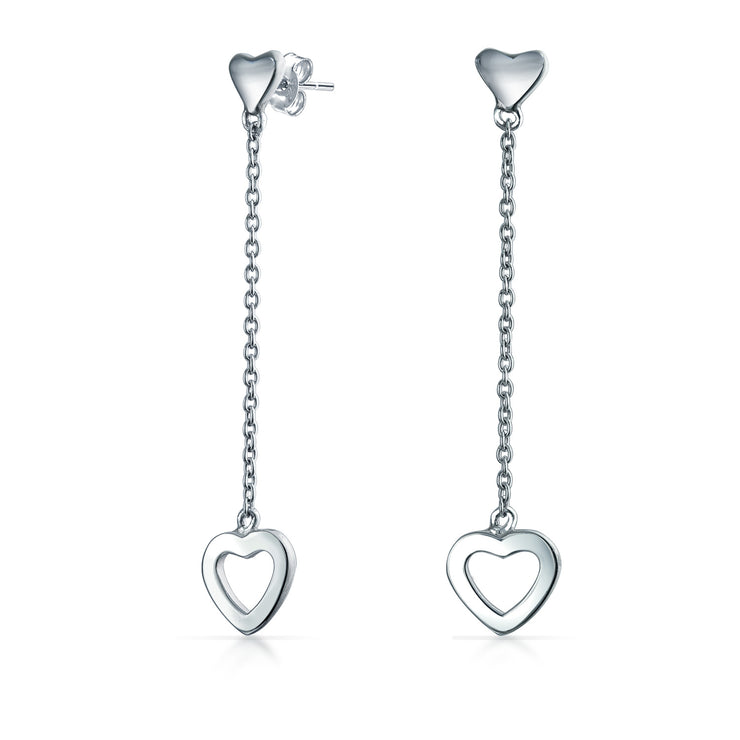 Minimalist Open Hearts Chain Long Dangle Earrings Sterling Silver