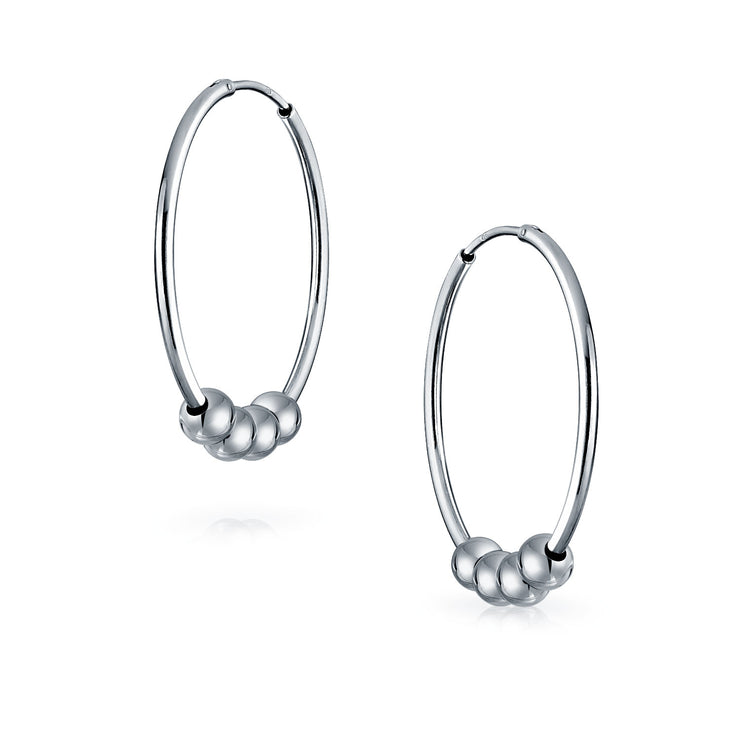 Bali Style 3 Ball Bead Endless Round Hoop Earrings Sterling Silver