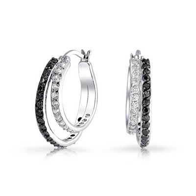 Black White Circle Pave CZ Prom Double Hoop Earrings Silver Plated