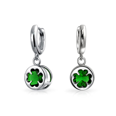 Celtic Four Leaf Clover Green Glass Dangle Earrings Sterling Silver