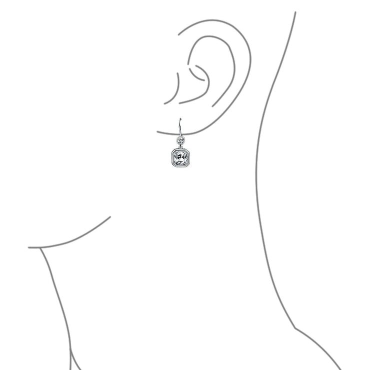 Square Radiant Cut Solitaire CZ Bezel Drop Earrings Sterling Silver