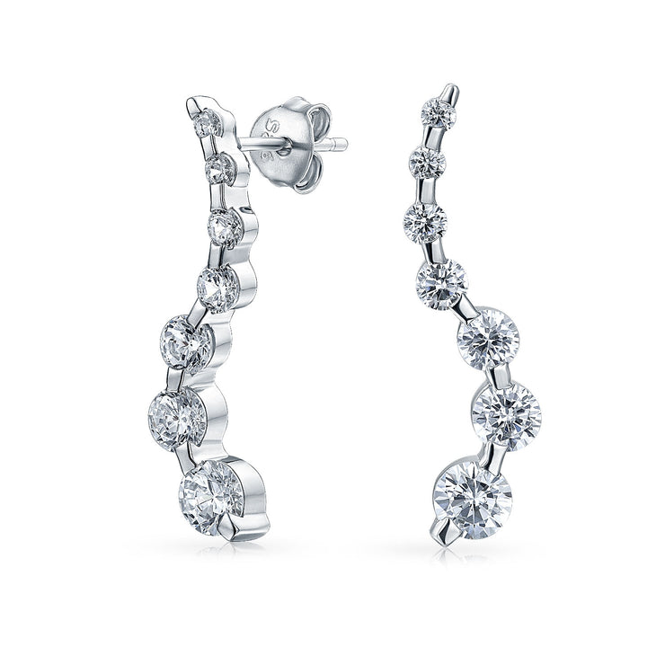 Zig Zag Graduated Size Round CZ Drop Stud Earrings Sterling Silver
