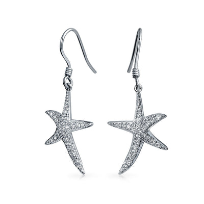 Cubic Zirconia Pave CZ Starfish Drop Dangle Earrings Sterling Silver