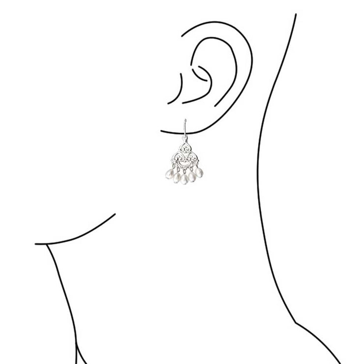 Freshwater Pearl Filigree Chandelier Earrings 925 Sterling Silver