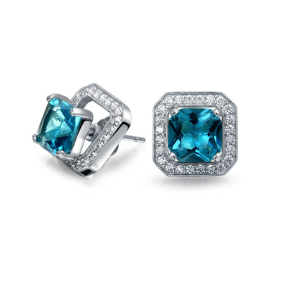 3CT London Blue CZ Square Earring Jacket Stud  Simulated  Topaz Sterling Silver