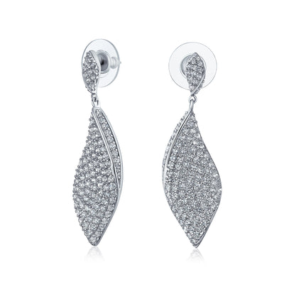 Modern Bridal CZ Statement Twist Teardrop Dangle Chandelier Earrings