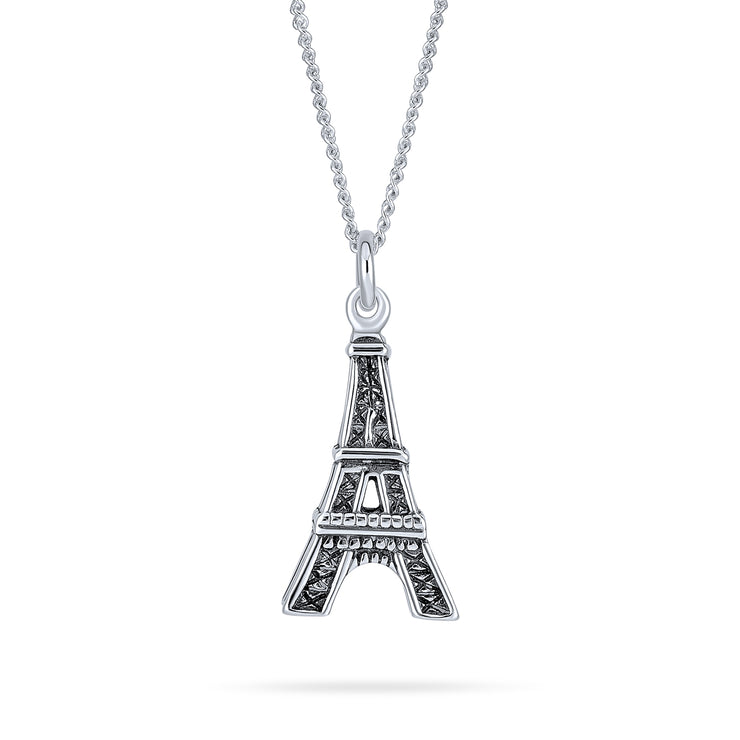 Eiffel Tower France Dangling Pendant Necklace 925 Sterling Silver