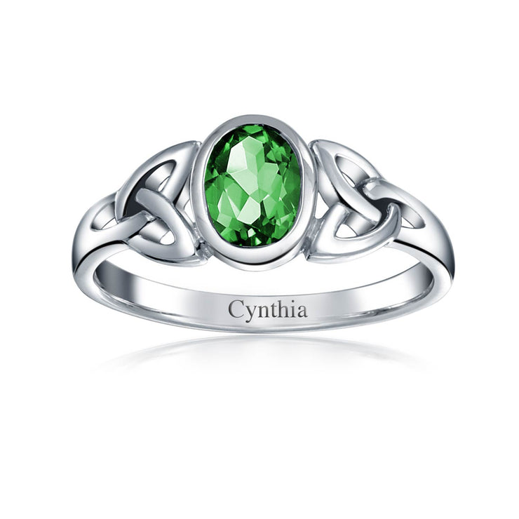Triquetra Celtic Knot Ring Green Simulated Emerald Sterling Silver
