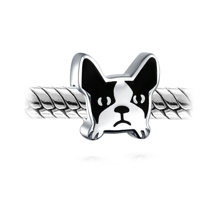 Frenchie French Bulldog Face Dog Pet Charm Bead 925 Sterling Silver
