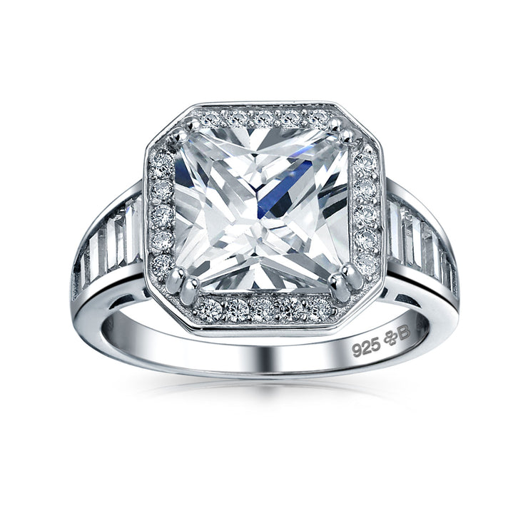 5CT AAA CZ Baguette Halo Princess Cut Engagement Ring Sterling Silver