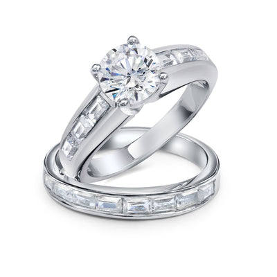 2CT Solitaire Baguette Band AAA CZ Engagement Ring Set Sterling Silver