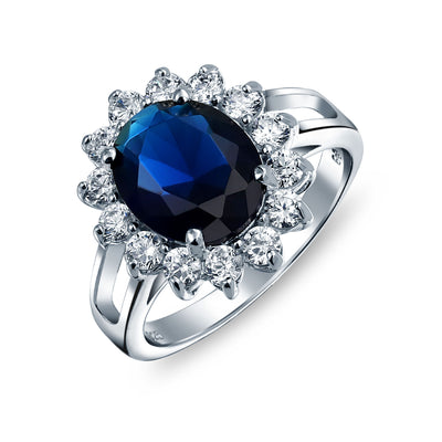 5CT Blue Oval Imitation Sapphire CZ Engagement Ring Sterling Silver