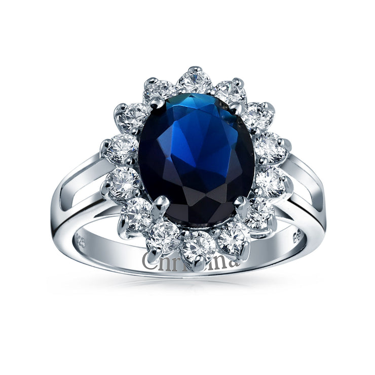 5CT Blue Oval Simulated Sapphire CZ Engagement Ring Sterling Silver