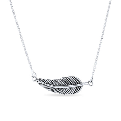 Feather Leaf Sideways Diagonal Pendant 925 Sterling Silver Necklace