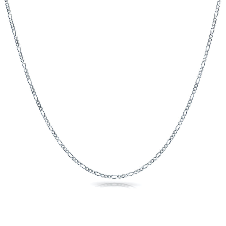 Thin 50 Gauge 1.5 MM 925 Sterling Silver Figaro Chain Necklace