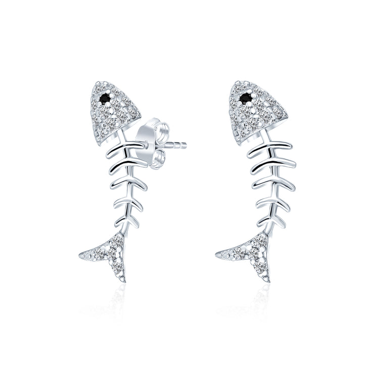 Tiny Nautical Beach Fishbone Pave CZ Stud Earrings 925 Sterling Silver