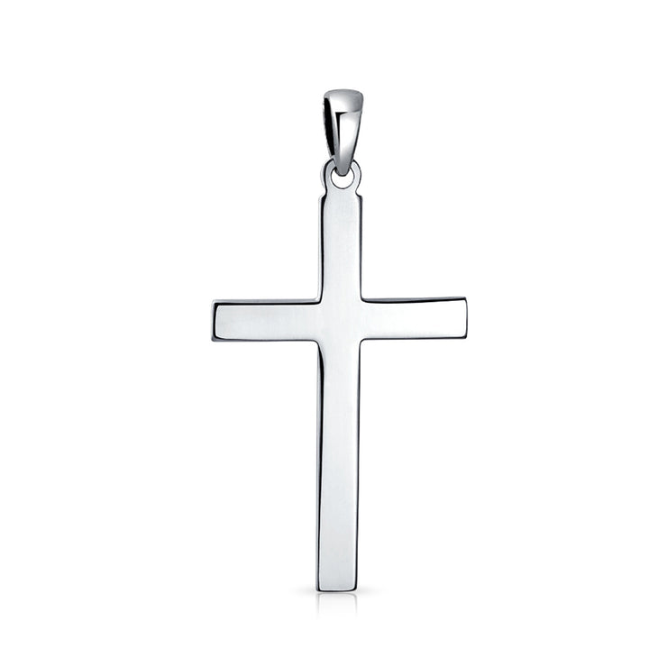 Cross Flat Religious Pendant Necklace 925 Sterling Silver 18 Inch