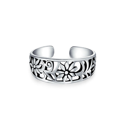 Flowers Cut Out Filigree Midi Band Toe Ring Silver Sterling Mid Finger
