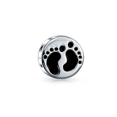Feet Footprints Family New Mother Child Charm Bead Sterling Silver