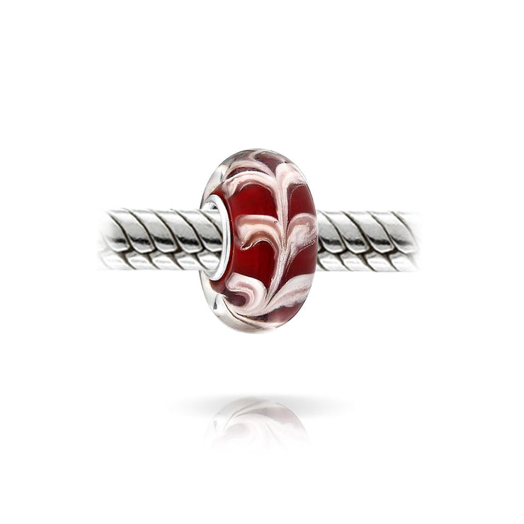 Red White Vine Scroll Murano Glass Sterling Silver Spacer Bead Charm