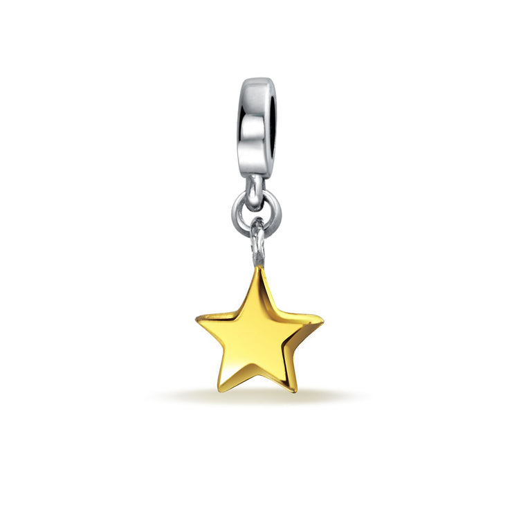 Patriotic Star 2 Tone Charm Bead Gold Plated 925 Sterling Silver