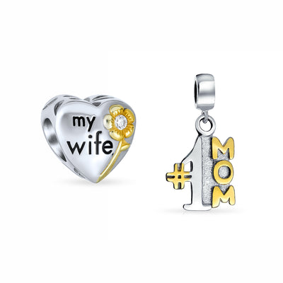 Number 1 Heart Mom Set 2 Charm Bead Gold Plated .925 Sterling Silver